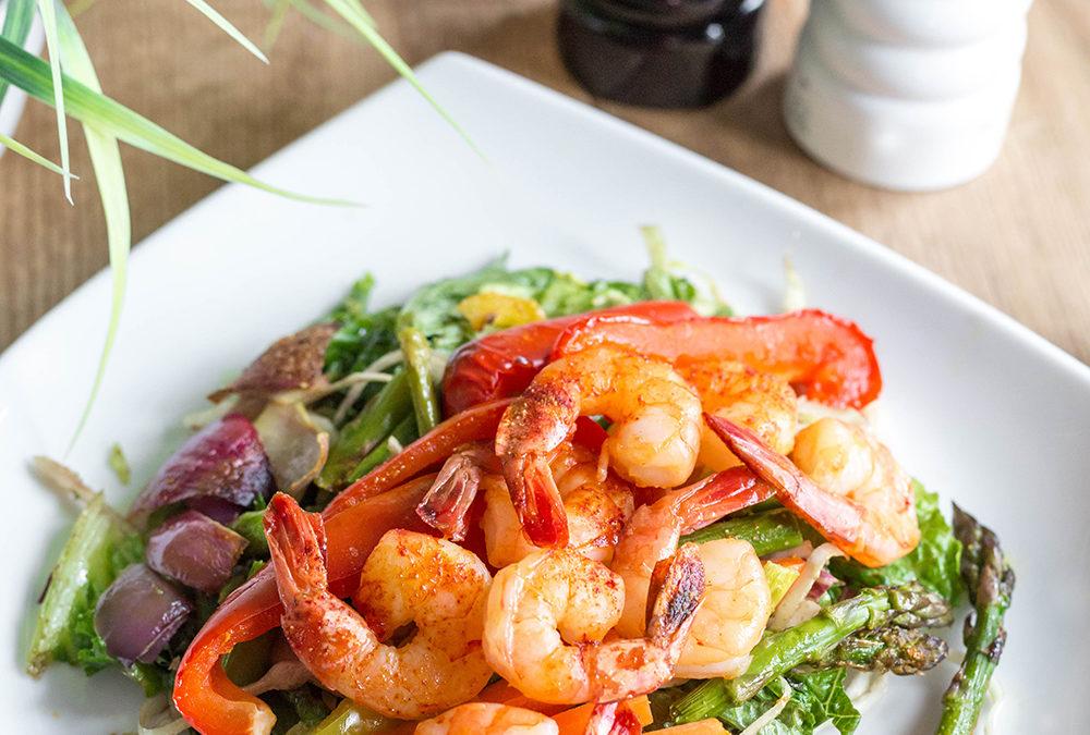 Simple Salad Recipe: Shrimp Salad with Grilled Veggies