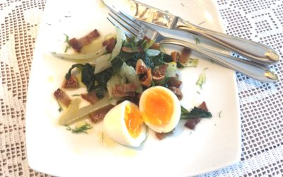 Recipe: Braised Dandelion With Fennel, Bacon, Eggs and Figs